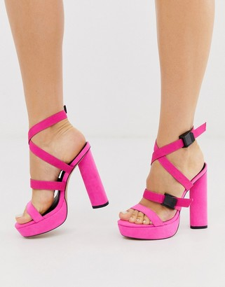 London Rebel circular platform multi strap sandals in pink