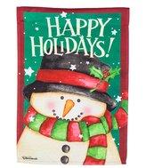 """Evergreen Happy Holidays"""" Snowman Indoor / Outdoor Garden Flag"""