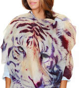 Lenox Lincoln + Womens Printed Cashmere Silk Scarf, Tiger