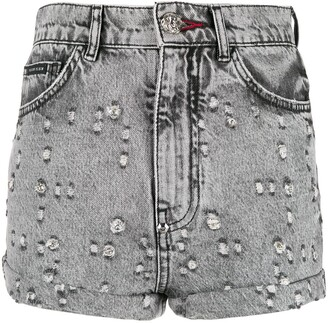 Philipp Plein Studded Denim Shorts