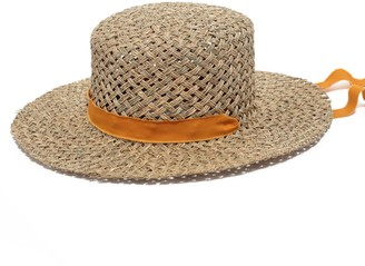 Justine Hats Boater Straw Hat With Threaded Band