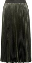 Christopher Kane Pleated Silk-blend Lamé Skirt - Gunmetal