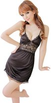 Manmu Allure Women Sexy Splicing Lace Lingerie Night Dress - Black