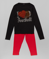 Beary Basics Black & Red 'I Heart Football' Tee & Leggings - Toddler & Girls