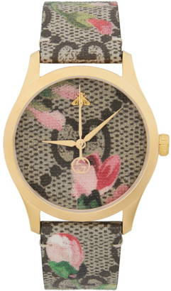 Gucci Gold and Multicolor Floral GG G-Timeless Watch