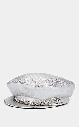 Eugenia Kim Women's Marina Crinkled-Leather Chauffeur Cap - Silver