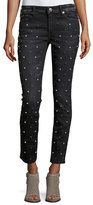 True Religion Halle Embellished Mid-Rise Super Skinny Jeans, Black Moonstone