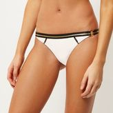 River Island Womens White ring side bikini bottoms