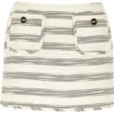 River Island Womens Cream stripe boucle skirt