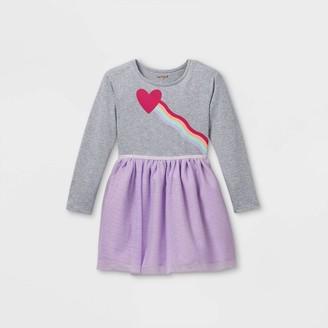 Cat & Jack Girls' Printed Tulle Long Sleeve Dress - Cat & JackTM