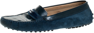 Tod's Blue Patent Leather And Suede Penny Slip On Loafers Size 37.5