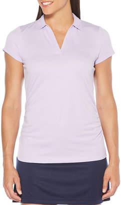 PGA Tour TOUR Womens Collar Neck Short Sleeve Knit Polo Shirt