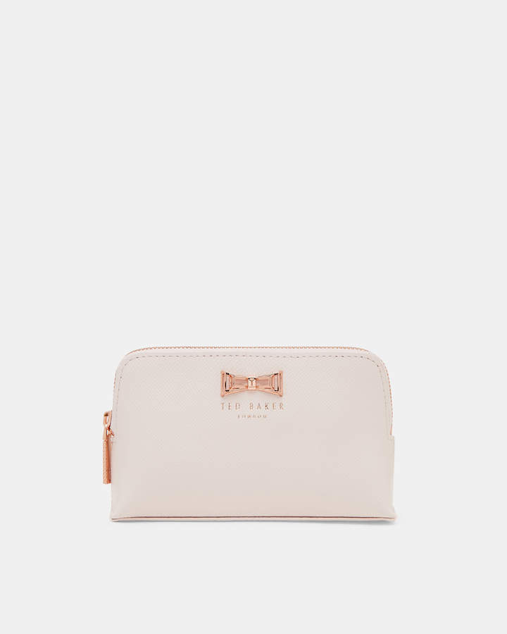 Ted Baker Geo Bow Leather Make Up Bag Baby Pink