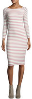 ATM Anthony Thomas Melillo Modal Rib Long-Sleeve Striped Dress, White/Pink