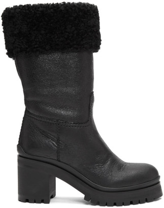 Miu Miu Black Shearling Crinkled Boots