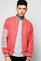 boohoo Melton Oversized Varsity Jacket With Print dusky pink