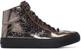 Jimmy Choo Gunmetal Star-embossed Argyle High-top Sneakers