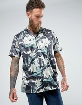 Asos Oversized Sateen Hawaiian Print Revere Collar Shirt