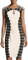 Jax Lace-Trim Keyhole Crepe Sheath Dress, Medium Beige