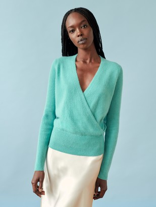 White + Warren Cashmere Ribbed Sleeve Wrap Top