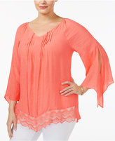 NY Collection Plus Size Lace-Trim Peasant Top