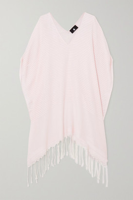 SU PARIS Luma Fringed Striped Cotton-voile Kaftan - Baby pink