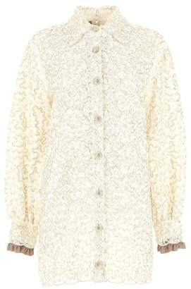 Gucci Lace Embellished Mini Shirt Dress