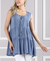 Denim Blue Tassel-Front Sleeveless Tunic - Plus Too