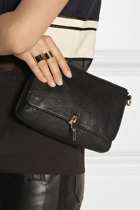 Elizabeth and James Cynnie Micro textured-leather shoulder bag