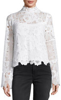 Nanette Lepore Long-Sleeve Fluid Floral Lace Top, Ivory