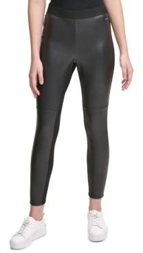 Calvin Klein Jeans Faux-Leather Mixed-Media High-Waist Leggings
