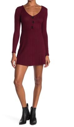 Velvet Torch V-Neck Skater Sweater Dress