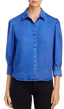BILLY T Chambray Puff-Sleeve Top