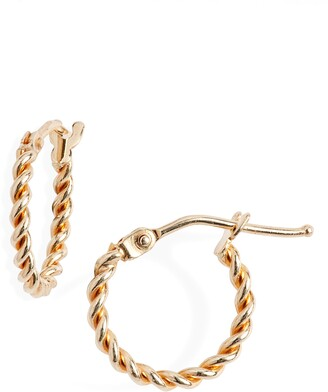 Bony Levy 14K Gold Small Twisted Rope Hoop Earrings