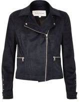 River Island Womens Navy faux suede biker jacket