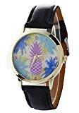 Mandystore Women Mens Watches Neutral Pineapple Pattern Leather Quartz Wrist Watch (Black)
