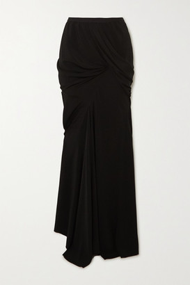 Rick Owens Seb Draped Crepe Maxi Skirt - Black