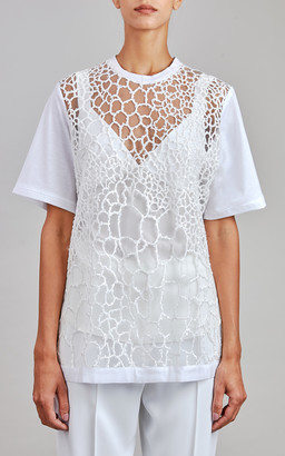 Elie Saab Tulle Embroidery T-Shirt
