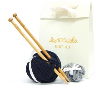Les 100 Ciels Knit Kit In Navy Bobble Hat