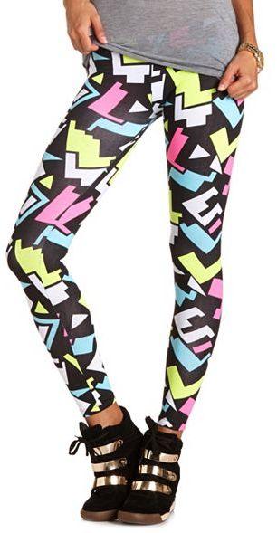Charlotte Russe Neon Geometric Cotton Legging