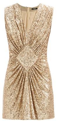 Balmain Gathered Sequinned Mini Dress - Gold
