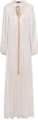 Ann Demeulemeester Bow-detailed Gathered Satin-jersey Maxi Dress