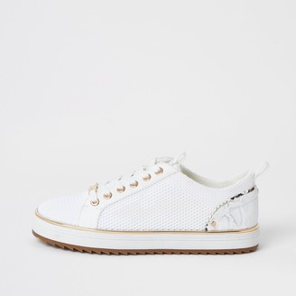 River Island Womens White knitted lace-up cleated trainers