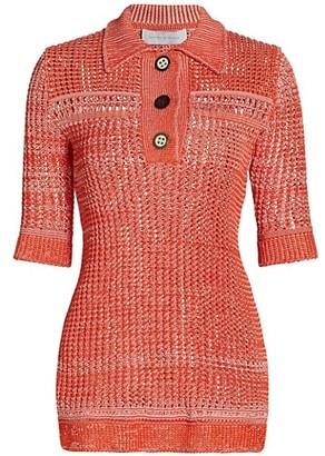 Marina Moscone Crochet Polo Knit Top