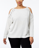 INC International Concepts Plus Size Embellished Cold-Shoulder Sweatshirt, Only at Macy's