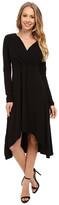 Mod-o-doc Cotton Modal Spandex Jersey 3/4 Sleeve Shirred Empire Hi-Low Dress