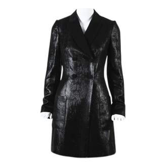 Pallas Black Leather Trench coats