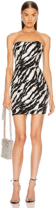 Redemption Jacquard Straight Strapless Dress in Zebra Black Silver | FWRD