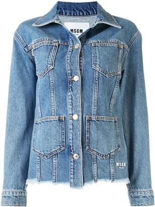 MSGM Fitted Multi-Pocket Denim Jacket