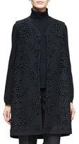 Co V-Neck Embellished Long Vest, Black